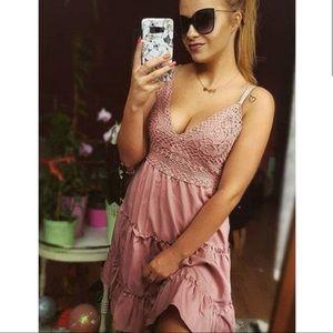 Pink v beck crochet bodice cami dress